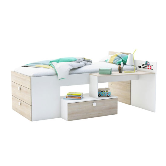Read more about Kimberley wooden children bed in pearl white and acacia