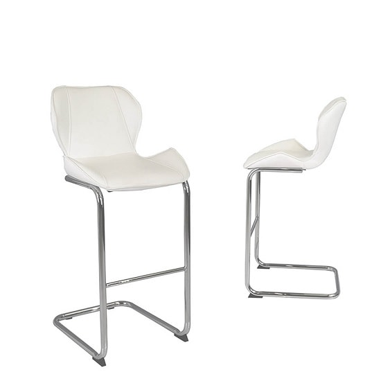 Kimberly Bar Stools In White Faux Leather In A Pair