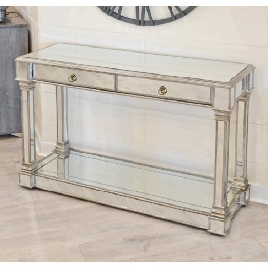 View Kimmy mirrored console table with two drawers