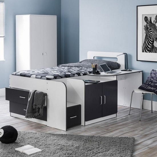 Kinder Childrens Cabin Bed In Matt White And Charcoal Grey_2