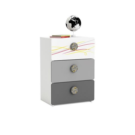 Soccer Childrens Chest of Drawers In Pearl White With 3 Drawers