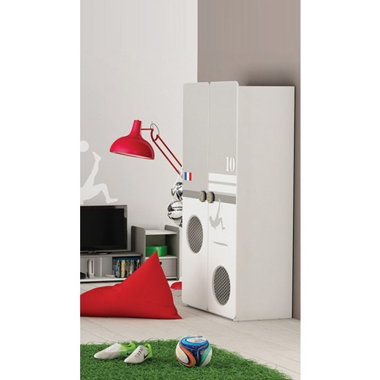 Image of Soccer Childrens Wardrobe In Pearl White And Grey With 2 Doors
