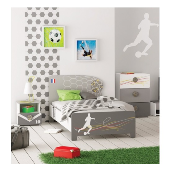 Soccer Childrens Single Bed In Pearl White And Grey