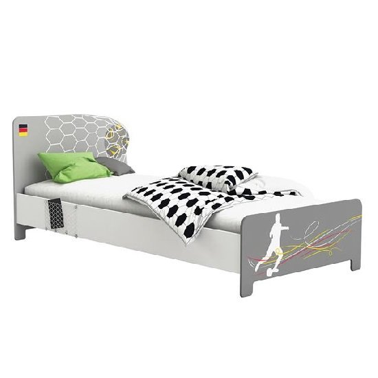 Soccer Childrens Single Bed In Pearl White And Grey 28533