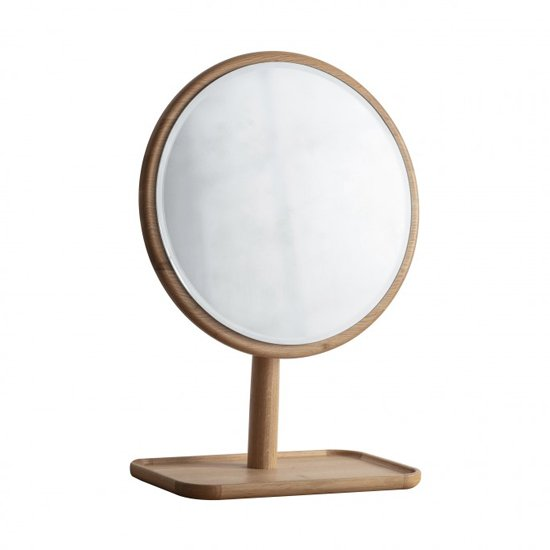 Kingham Dressing Mirror With Wooden Stand In Oak
