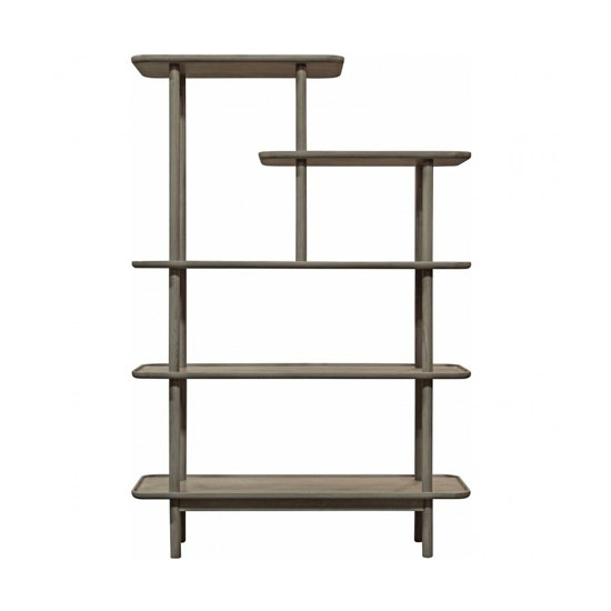 Kingham Wooden Open Display Unit In Grey With Shelves