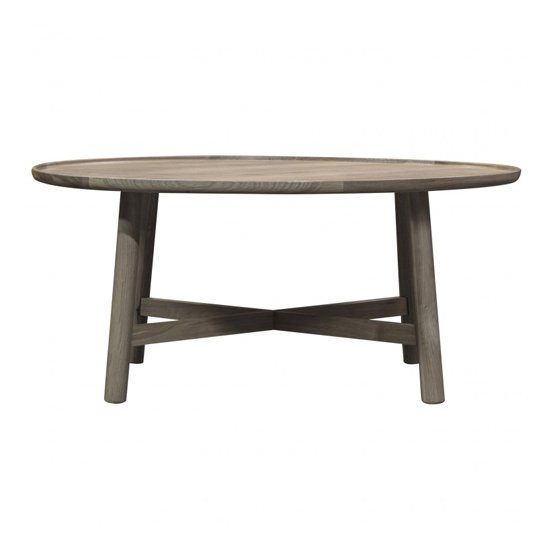 View Kingham round wooden coffee table in grey
