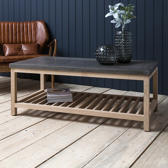 Kingsley Wooden Coffee Table Rectangular In Concrete And Oak