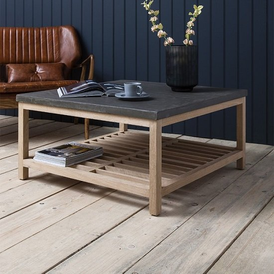 Kingsley Wooden Coffee Table Square In Concrete And Oak