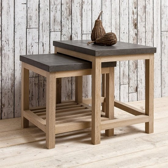Kingsley Wooden Nest Of 2 Tables In Concrete And Oak