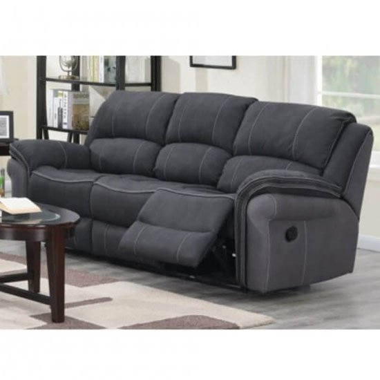 Kingston Fabric 3 Seater Recliner Sofa In Charcoal