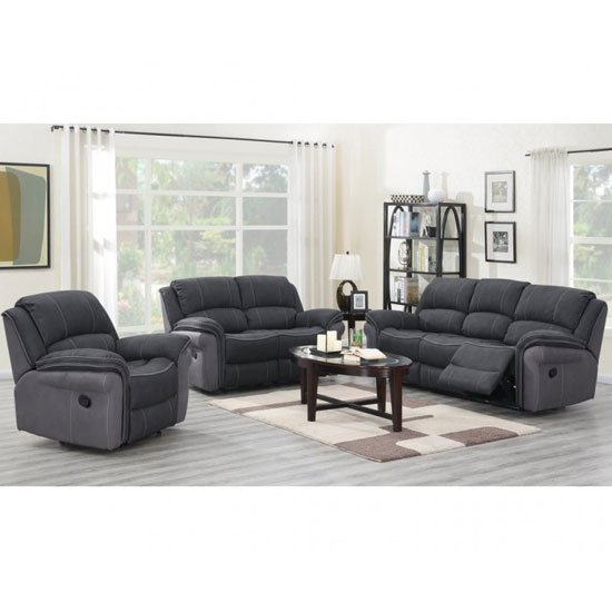 Kingston Fabric 3 Seater Sofa And 2 Armchairs Suite In Charcoal_1