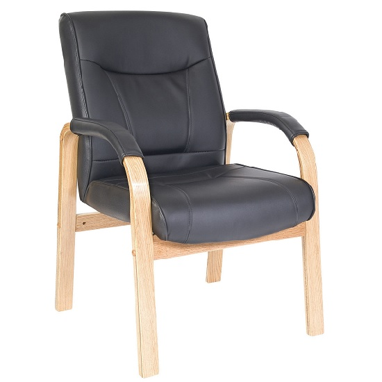 Kingston Light Wood Finished Visitor Chair In Black PU