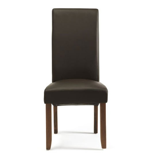 Ameera Dining Chair In Brown Faux Leather And Walnut in A Pair_2