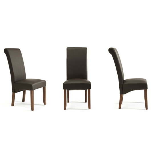 Ameera Dining Chair In Brown Faux Leather And Walnut in A Pair_4