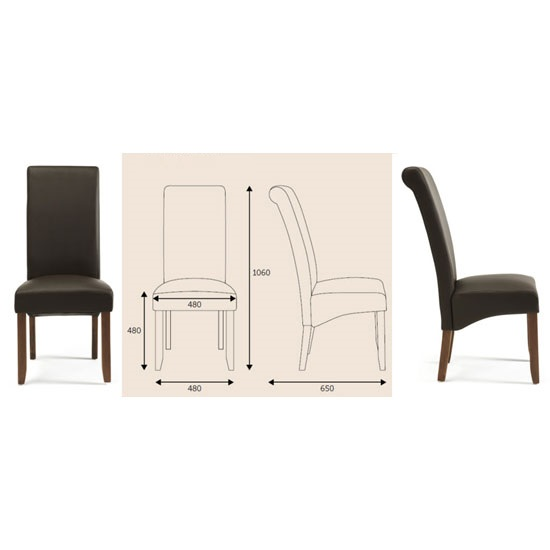 Ameera Dining Chair In Brown Faux Leather And Walnut in A Pair_5