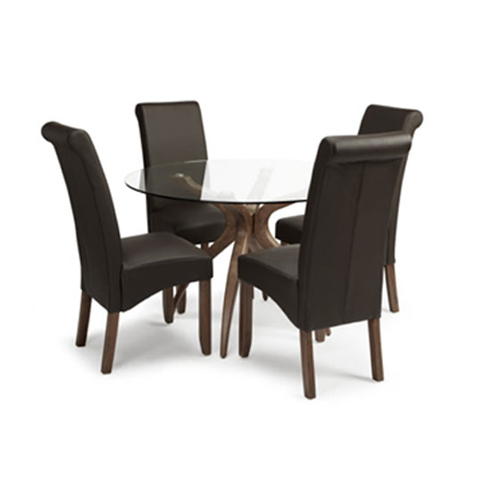 Ameera Dining Chair In Brown Faux Leather And Walnut in A Pair_6