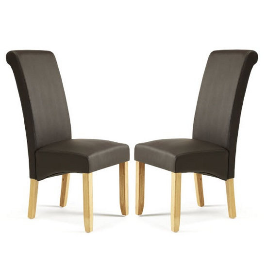 Ameera Dining Chair In Brown Faux Leather And Oak in A Pair_1