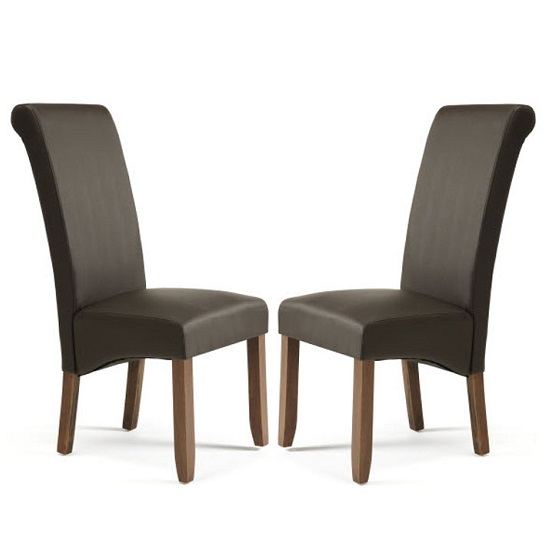Ameera Dining Chair In Brown Faux Leather And Walnut in A Pair_1