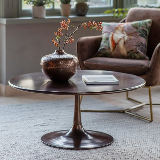 Kinnitty Round Metal Coffee Table In Copper