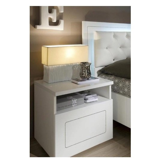 Kinsella Wooden Bedside Cabinet In Laquered White Gloss