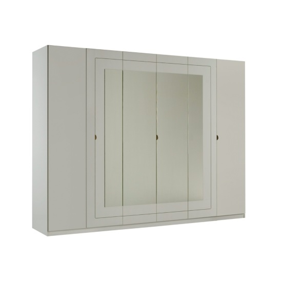 Kinsella Mirrored Wardrobe In Laquered White With Six Doors