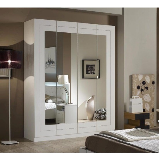Kinsella Mirrored Wardrobe In Laquered White With Four Doors