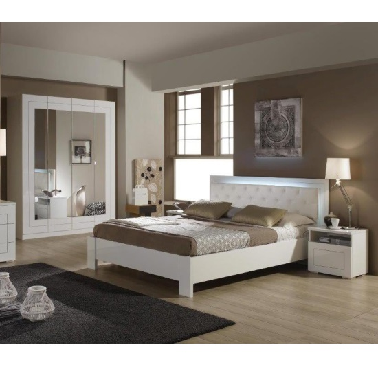 Kinsella Double Size Bed In Laquered White Gloss With LED