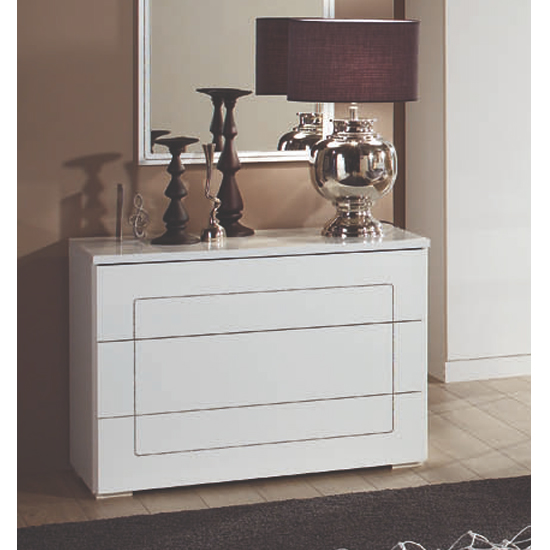 Kinsella Wooden Chest Of Drawers In Laquered White Gloss