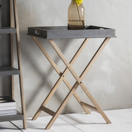 Kipling Wooden Butlers Tray Side Table In Faux Concrete