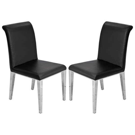 Kirkland Black Leather Dining Chairs In Pair With Chrome Legs