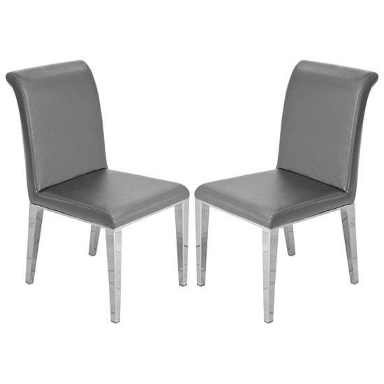 Kirkland Grey Leather Dining Chairs With Chrome Legs In Pair