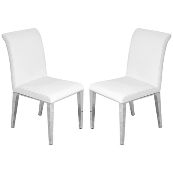Kirkland White Leather Dining Chairs In Pair With Chrome Legs