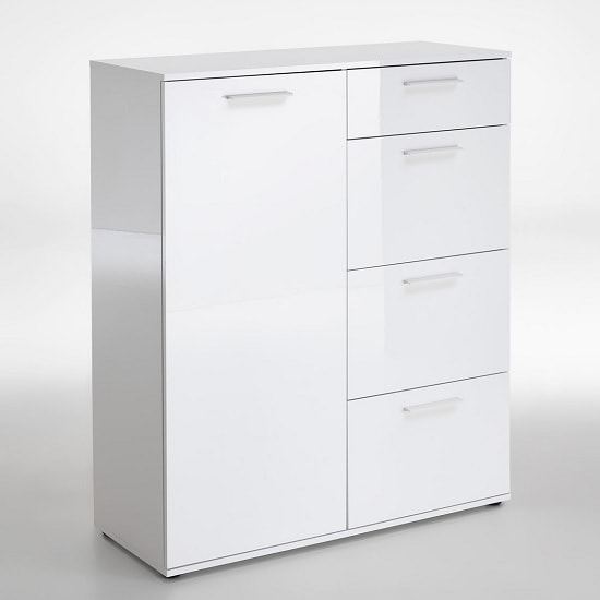 Klara Compact Sideboard In White High Gloss With 1 Door