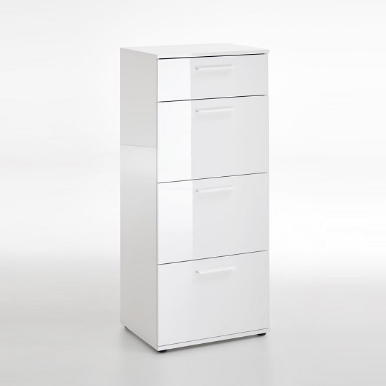 Klara Chest Of Drawers Tall In White High Gloss With 4 Drawers