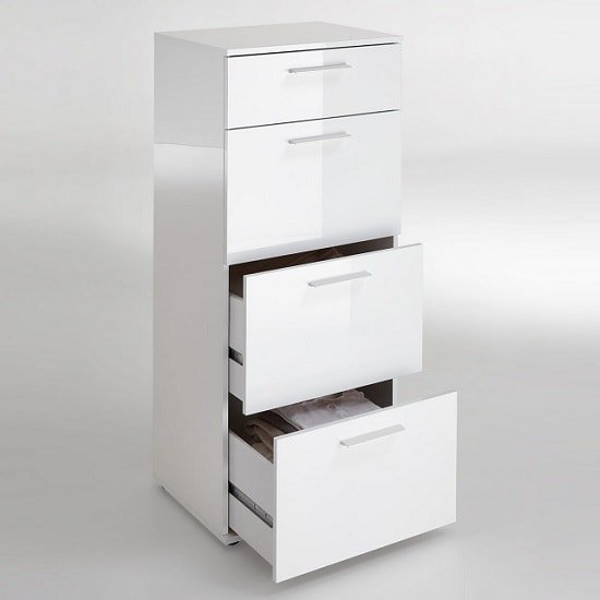 Klara Chest Of Drawers Tall In White High Gloss With 4 Drawers_2