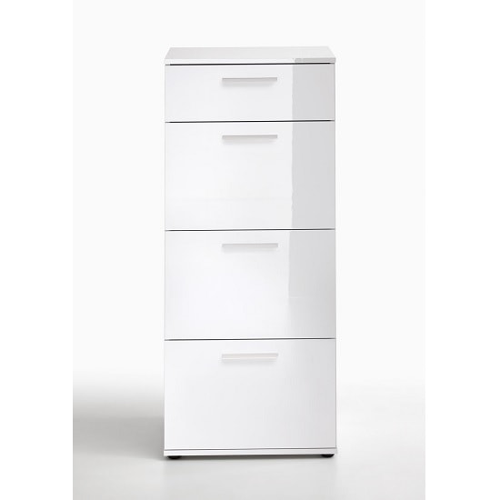 Klara Chest Of Drawers Tall In White High Gloss With 4 Drawers_3
