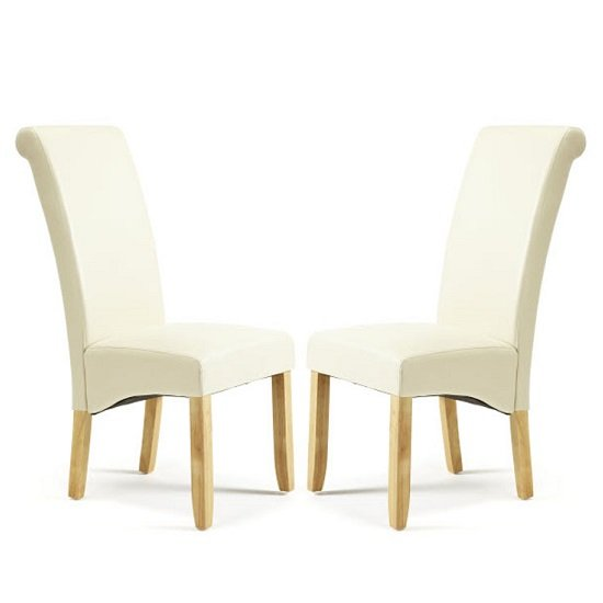 Ameera Dining Chair In Cream Faux Leather And Oak Legs in A Pair