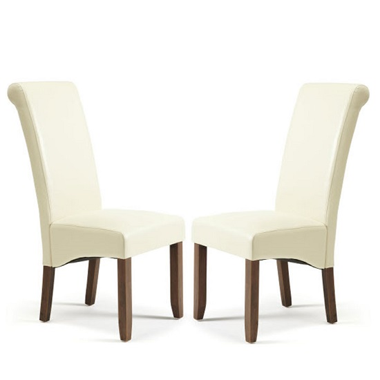Ameera Dining Chair In Cream Faux Leather And Walnut in A Pair