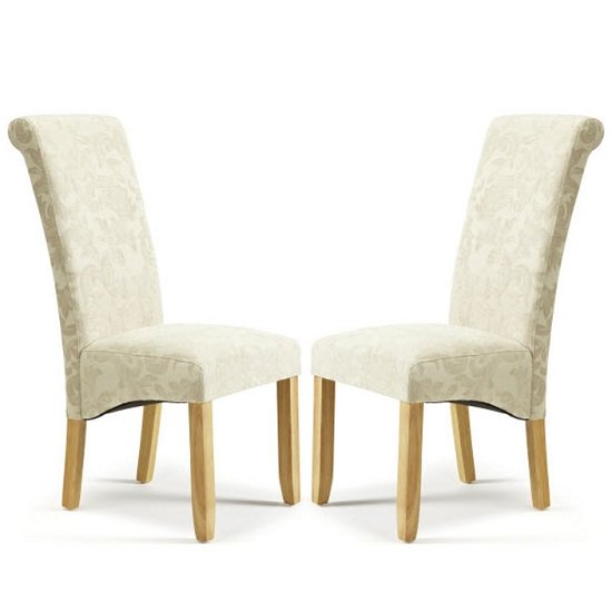 Ameera Dining Chair In Floral Cream Fabric And Oak in A Pair_1