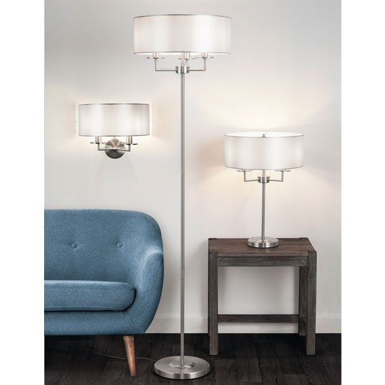 Knightsbridge 2 Lamp Wall Light In Satin Silver With Silk Shade_2