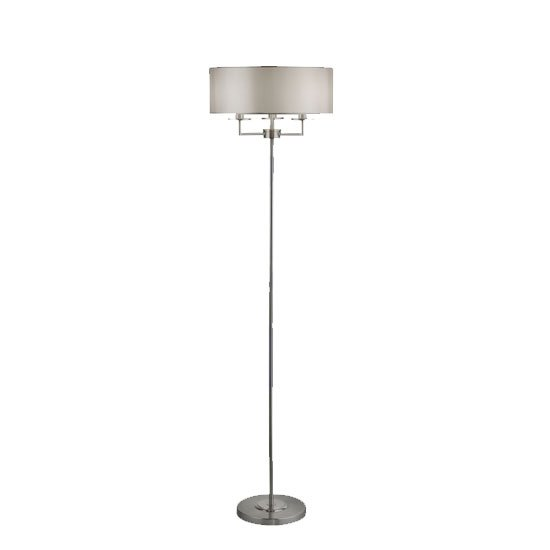 Knightsbridge 3 Bulb Floor Lamp In Satin Silver With Silk Shade