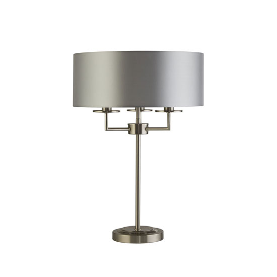 Knightsbridge 3 Bulb Table Lamp In Satin Silver With Silk Shade