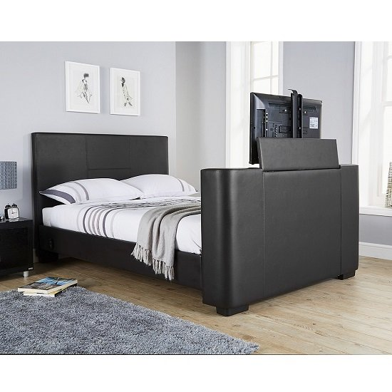 Knightsbridge Modern Double TV Bed In Black Faux Leather