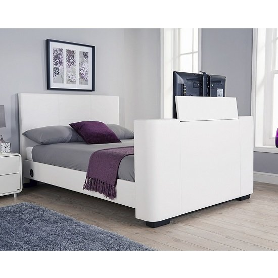Knightsbridge Modern Double TV Bed In White Faux Leather