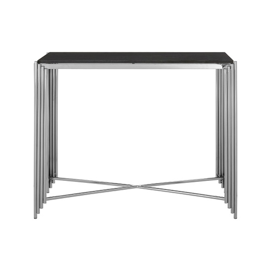 Knudson Granite Top Console Table With Stainless Steel Frame_2