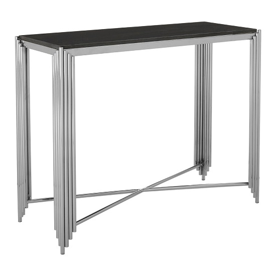 Knudson Granite Top Console Table With Stainless Steel Frame