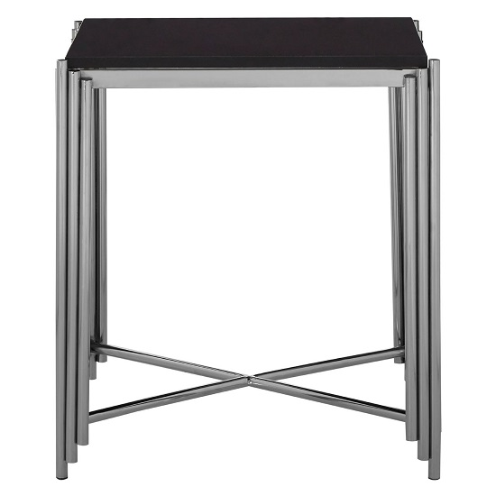 Knudson Granite Top Side Table With Stainless Steel Frame