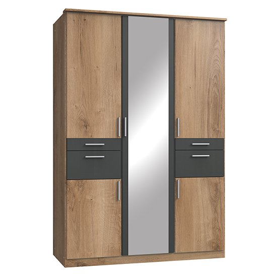 Koblenz Mirrored 4 Drawers Wardrobe In Planked Oak And Graphite