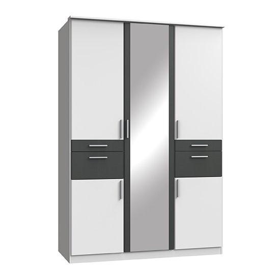 Koblenz Mirrored Wardrobe In White And Graphite With 4 Drawers